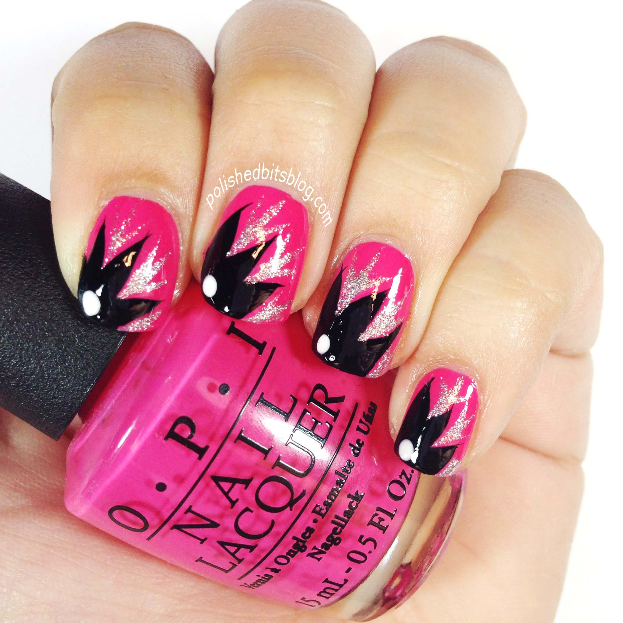 Mani monday black floral on pink and kiss nail art paint review image prinsesfo Image collections