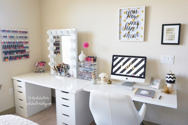 updated beauty room desk area